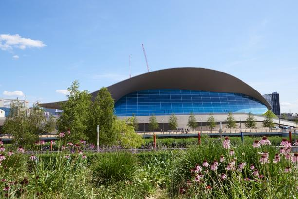 the outside of the London Aquatic Centre