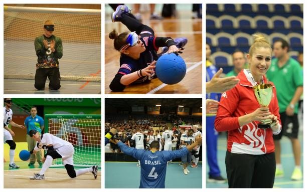 Photo collage of five goalball players
