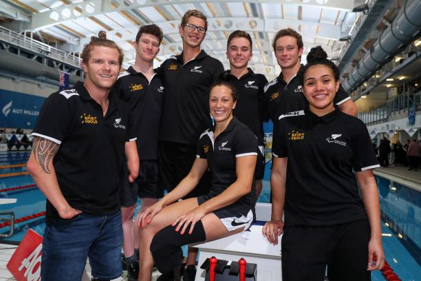 Group photo of seven New Zealand swimmers