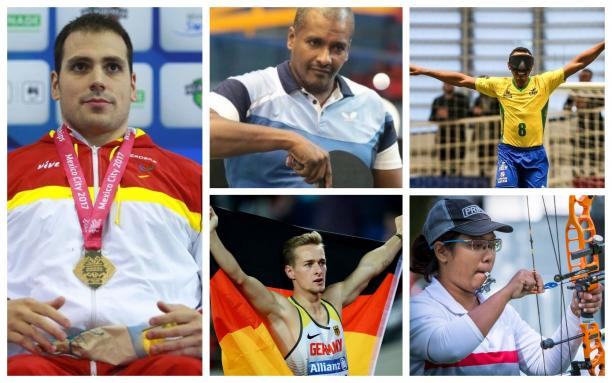 Picture collage of five athletes nominated for an honour