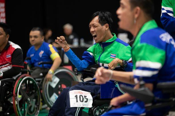 Thai boccia athlete celebrates