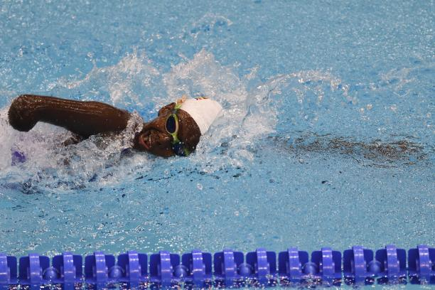 A female swimmer in the pool