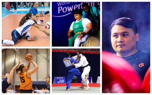 Picture collage of five athletes