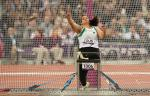 Nassima Saifi of Algeria competes in the Women's Discus Throw - F57/58 Final at the London 2012 Paralympic Games