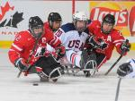 USA and Canada's ice sledge hockey teams