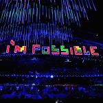 'Im possible written in Tetris cubes at Sochi 2014 Paralympic Closing Ceremony' logo