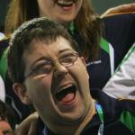 Irish Boccia player Padraic Moran cheering