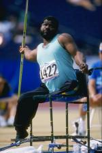 Athlete from Jamaica competing in javelin at the 1996 Atlanta Games