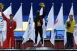 Podium of the Mens 100m in Sydney