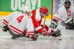 Sylwester Flis, Poland, and Martin Pachoinig, Austria, fighting for the puck in the preliminary game at the 2015 IPC Ice Sledge Hockey World Championships B-Pool in Ostersund, Sweden.