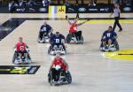 Jens Syberg of Denmark makes a break during the Wheelchair Rugby Bronze medal match against Australia during day 2 of the Invictus Games