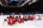 Canada players celebrate after the ice sledge hockey bronze medal game between Canada and Norway at the Shayba Arena at the 2014 Paralympic Winter Games.