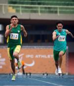 Petrucio Ferreira on his way to breaking the 200m T47 world record at the 2015 IPC Athletics Grand Prix in Sao Paulo, Brazil.