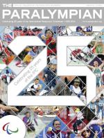Cover photo of the magazine Paralympian with a collage of images of various sports with a number 25, since IPC is celebrating 25th anniversary.