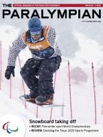 Cover photo of the magazine Paralympian showing snow-boarder on the slope.