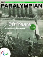Cover photo of the magazine Paralympian in black-white technique, showing athletes on the stadium in Rome 1960 with the text: 50 years, remembering Rome.