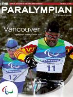 Cover photo of the magazine Paralympian showing two athletes competing in nordic skiing with the text: Vancouver, Paralympic Winter Games 2010.