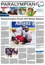 Cover photo of the magazine Paralympian showing two ice sledge hockey players in the story: Sharpshooters finish off winter season.
