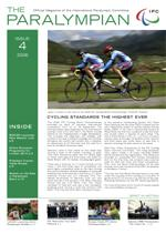 Cover photo of the magazine Paralympian showing two cyclists in the story: Cycling standards the highest ever.