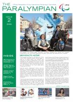 Cover photo of the magazine Paralympian with IPC President Phil Craven, Italian Paralympic Committee President Luca Pancalli and President Paralympics of the Torino 2006 Organizing Committee Tiziana Nasi, with Aster, mascot of the Torino 2006 Paralympic Winter Gam