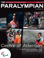 Cover photo of the magazine Paralympian with a collage of images of various sports with the text: Centre of Attention, How the Paralympics are gaining ground in sponsorship and broadcasting.