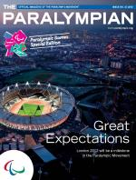 Cover photo of the magazine Paralympian showing a general aerial view of the Olympic Stadium in London with the text: Great Expectations, London 2012 will be a milestone in the Paralympic Movement.