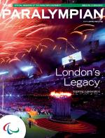 Cover photo of the magazine Paralympian showing fireworks light up the stadium during the closing ceremony at the London 2012 Paralympic Games
