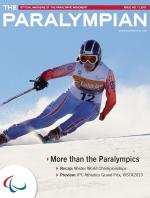 Cover photo of the magazine Paralympian showing skier Maria Bochet of France with the text: More than the Paralympics.