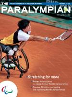 Cover photo of the magazine Paralympian showing wheelchair tennis player with the text: Stretching for more.
