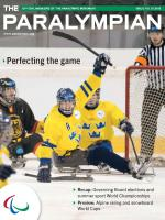 Cover photo of the magazine Paralympian showing ice sledge hockey players from Sweden and Germany with the text: Perfecting the game.