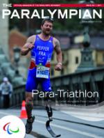 Cover photo of the magazine Paralympian showing para-triathlete with the text: Para-Triathlon, included slongside Para-Canoe at the Rio 2016 Paralympic Games.