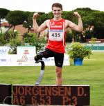 Denmark's Daniel Jorgensen after breaking own long jump T42 world record in Grosseto, Italy.