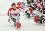 Seung-Hwan Jung of South Korea competes at the 2015 IPC Ice Sledge Hockey World Championships B-Pool in Ostersund, Sweden