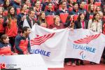 Michelle Bachelet, the President of Chile, with athletes.