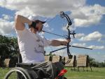 Argentina's Ferderico Paolorossi in action in para-archery.