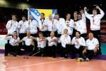The team of Bosnia and Herzegovina celebrates after winning the gold in the Men's Sitting Volleyball competition at the London 2012 Paralympic Games.