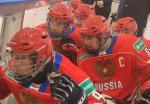 Group of ice sledge hockey players