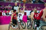 Wheelchair basketball players during a game