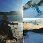Collage of photos taken on snow, with two skiers (one in sit ski)