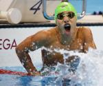 Carlos Serrano Zarate COL takes the Gold Medal in a new World Record time in the Men's 100m Breaststroke.
