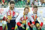 Louis Rolfe, Jon-Allan Butterworth and Jody Cundy celebrate gold medal for team GB