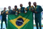 Gold medalist Diogo Ualisson Jeronimo da Silva, Gustavo Henrique Araujo, Daniel Silva, Heitor de Oliveira Sales, Felipe Gomes and Jonas de Lima Silva of Brazil pose on the podium