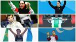 Collage of six female athletes