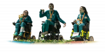 Cutout of three athletes in wheelchairs
