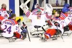 Para ice hockey players celebrate their gold medal win