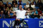 Joachim Gerard of Belgium celebrates after winning the mens final match against Gordon Reid of Great Britain on Day 5 of the NEC Wheelchair Tennis Masters at Queen Elizabeth Olympic Park on December 04, 2016 in London, England.