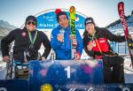 Three sit skiers hold their medals