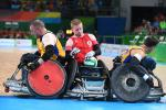 Jim Roberts of Great Britain in action in the wheelchair rugby 5th-6th classification on day 10 of the Rio 2016 Paralympic Games at on September 17, 2016 in Rio de Janeiro, Brazil.