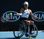 Marjolein Buis of the Netherlands competes against Lucy Shuker of Great Britain in their Quarterfinal match during the Australian Open 2017 Wheelchair Championships.