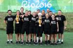 Group of Para cyclists gather together for a photo during the Rio 2016 Paralympics